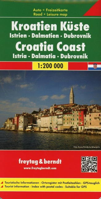 Kroatien Küste, Istrien - Dalmatien - Dubrovnik 1 : 200 000 Autokarte