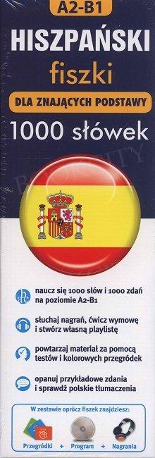 Hiszpański fiszki 1000 słówek dla znających podstawy 1000 fiszek+CD-ROM fiszki MP3 z programem i nagraniami+kolorowe przegródki
