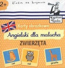 Karty obrazkowe Angielski dla malucha Zwierzęta Książeczka + 17 ilustrowanych kart