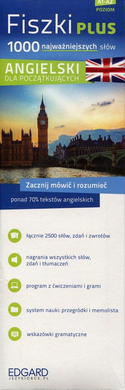 Fiszki PLUS 1000 najważniejszych słów Angielski dla początkujących Fiszki + CD-Rom