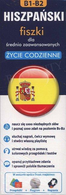 Hiszpański fiszki dla średnio zaawansowanych.Życie codzienne 1000 fiszek+CD-ROM fiszki Mmp3 z programem i nagraniami+kolorowe przegródki